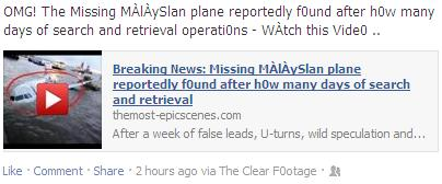 The Video Scam Facebook Post: Omg! The Missing Màlàyslan Plane Reportedly F0und