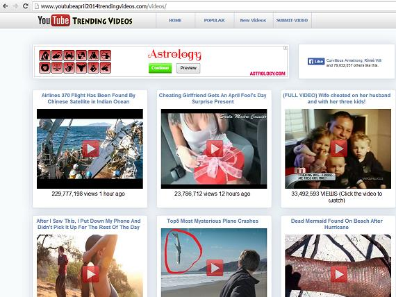 Fake Video Sharing Website - www.youtubeapril2014trendingvideos.com