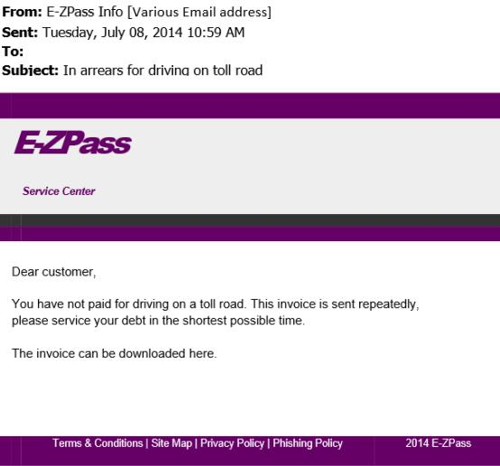 The Malicious E-ZPass Email Message