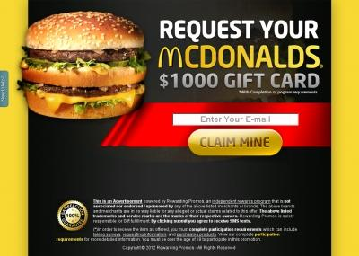 GET FREE McDonalds $1000 Gift Card
