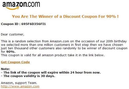 Fake Amazon Email - You Are The Winner Of a Discount Coupon