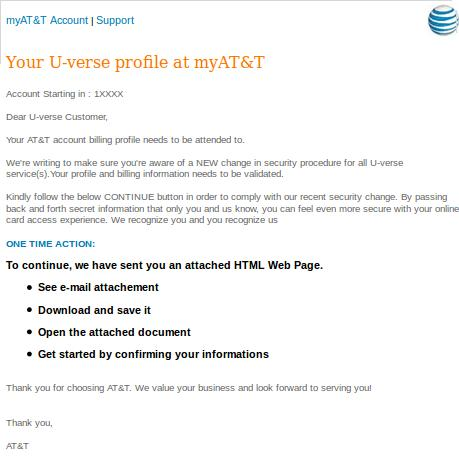 The Fake AT&T Email Message