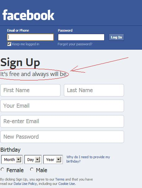 Facebook homepage www.facebook.com stating it will always be free