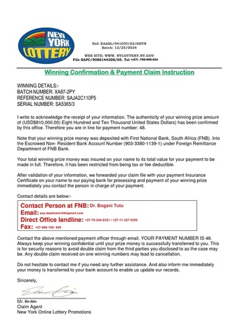 New York Lottery Scam