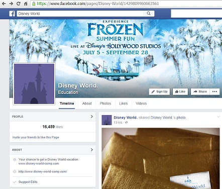 Fake Walt Disney World Facebook Page