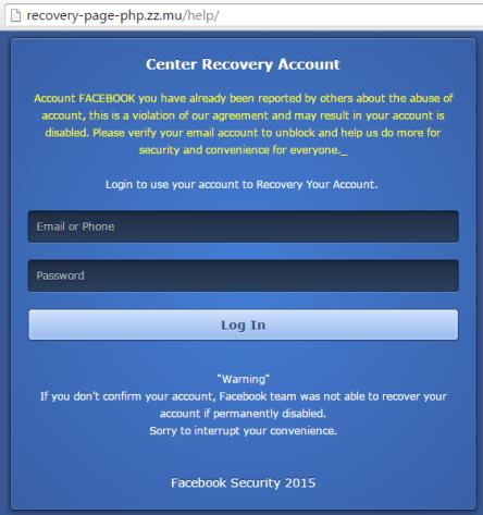 Fake Facebook website: recovery-page-php .zz.mu