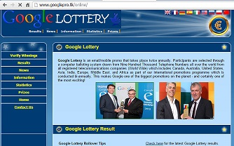 "The Google and Microsoft Lottery/Promotion Scam website ""www.googlepro .tk"""