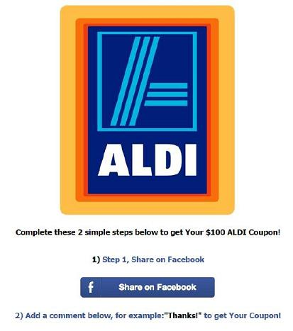Fake Aldi Facebook website