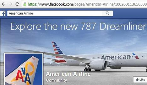 Fake American Airlines Facebook Page