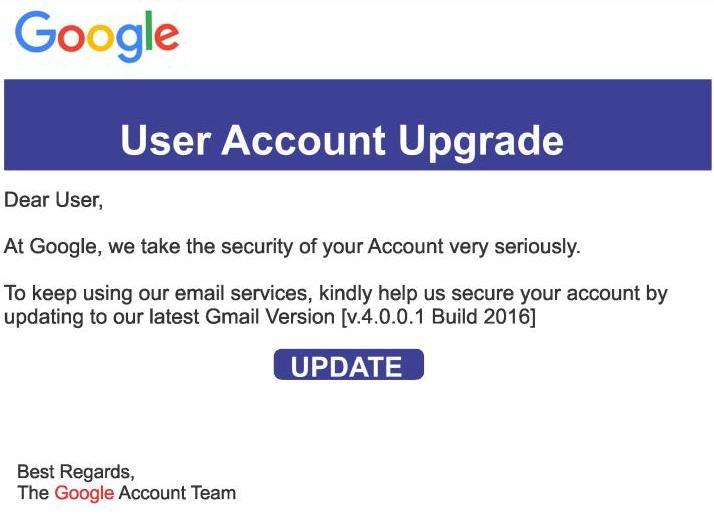 Gmail Version 4 Build 2016 Update or Upgrade