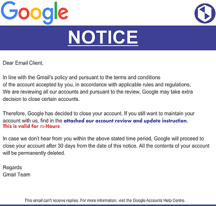 Google has Decided to Close your Account