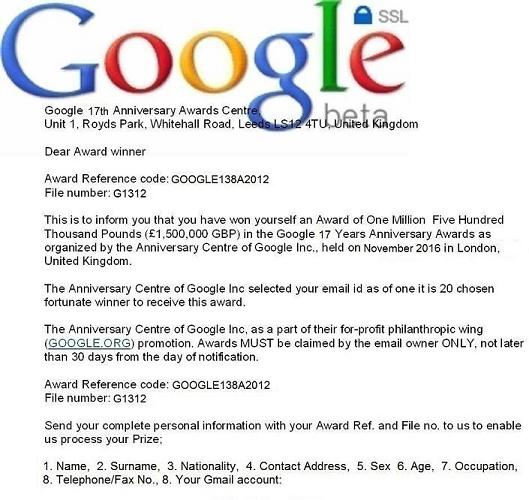 Google 17 Years Anniversary Awards Lottery Scam