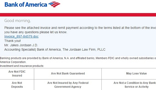 bank of america fake and malicious email