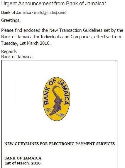 Urgent Announcement from Bank Jamaica Virus Email
