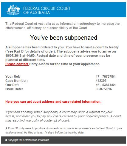 Fake Federal Court of Australia Subpoenaed Email Message