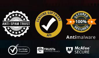 Anti Spam Trust, Genuine Software,Secured 100% Antimalware,VeriSign Trusted,TrusTe Certified Privacy and McAfee SECURE seals, trust marks, logos or icons