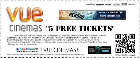 Get 5 FREE Tickets of any Movie at VUE CINEMAS to celebrate 15th Anniversary