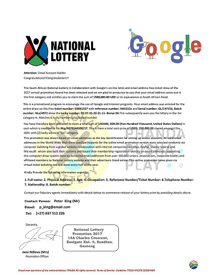 The South African National Lottery in Collaboration with Google Online Lotto