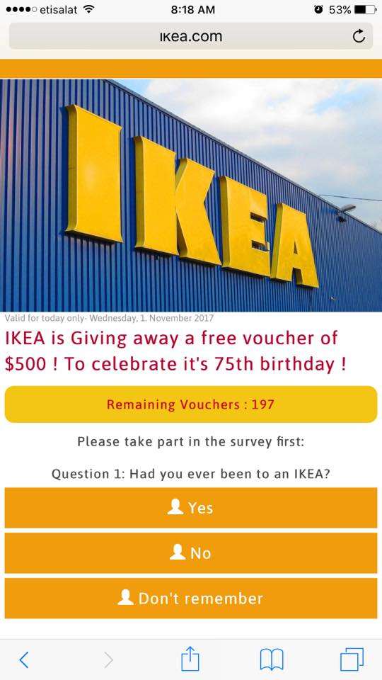 beware of ikea 75th birthday free 500 voucher or gift scams