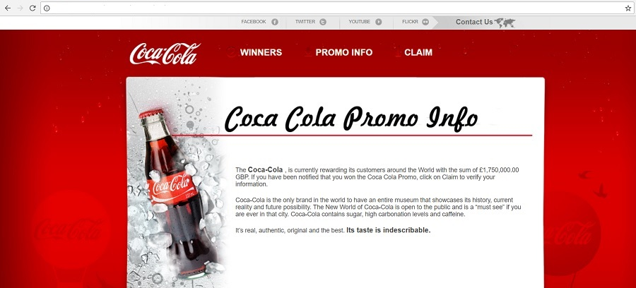 www.augifts.net - Fake Coca-Cola Website