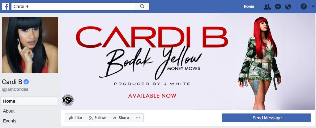 The Legitimate Cardi B Facebook page