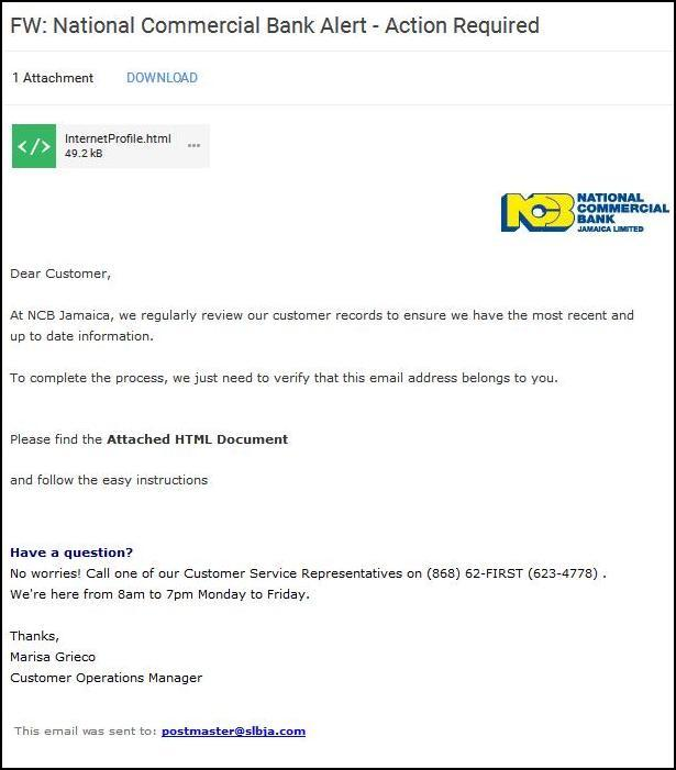 National Commercial Bank Malicious Email
