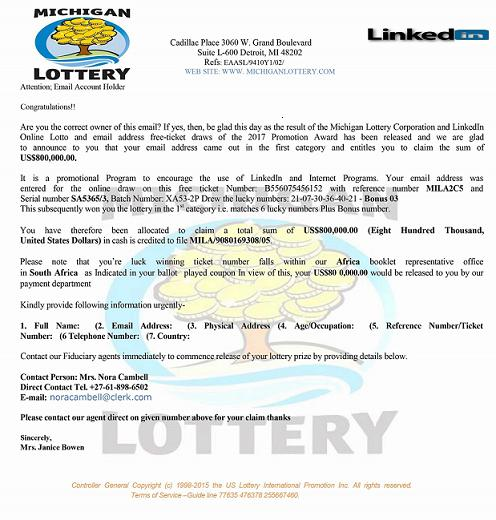 Michigan Lottery Corporation and LinkedIn Online Lotto Scam