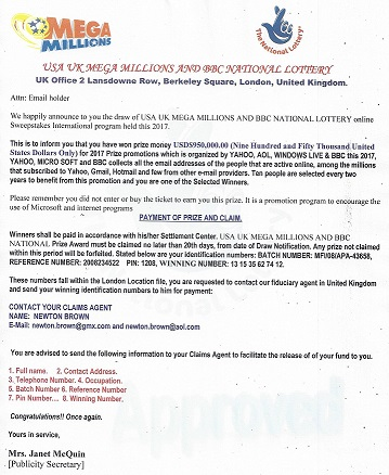 "The ""USA UK MEGA MILLIONS and BBC National Lottery"" Scam"