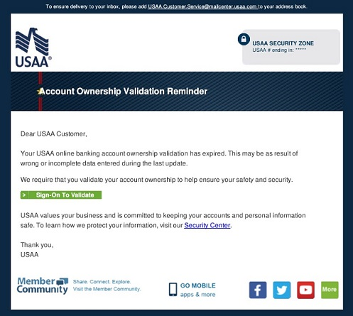 USAA Account Ownership Validation Reminder