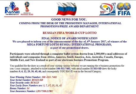 Russia FIFA World Cup 2018 Lotto - Mega Fortune LOTTERY Russia