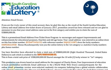 The South Carolina Education Lottery Free-ticket Scam