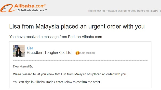 Alibaba Manage Your Orders Notification Phishing Scam