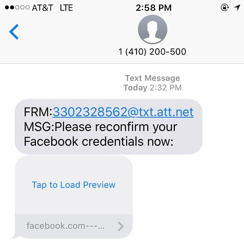 "Please Reconfirm Your Facebook Credentials Now"" Text Message Phishing Scam"