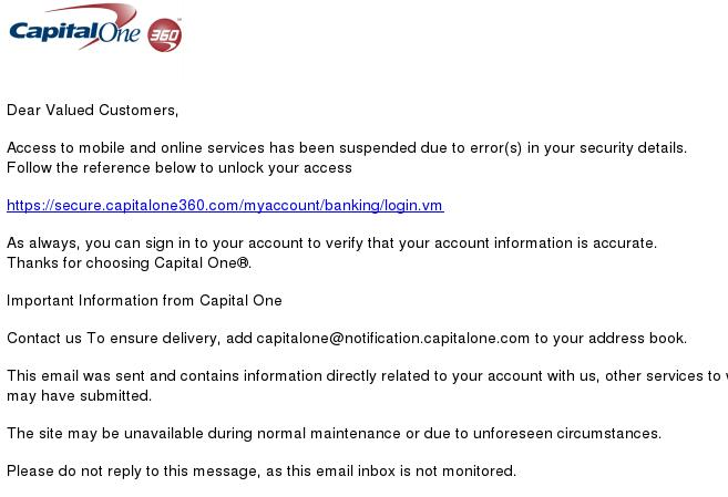Capital One 360 Phishing Scam