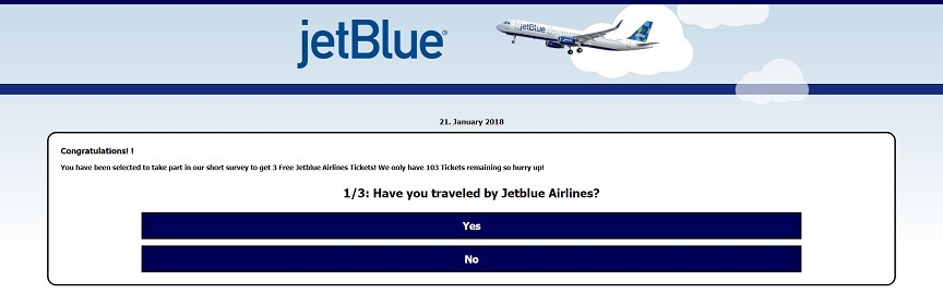 Jetblue Airlines Gifting 3 Free Family Plane Tickets Survey Scamming Website