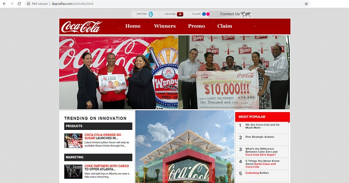www.dppcollas.com - Fake Coca-Cola Promo Website