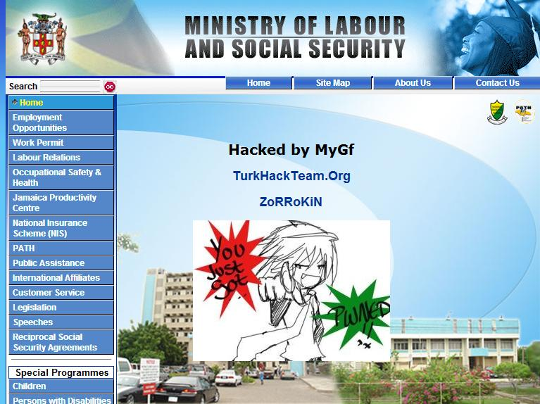 The Hacked Jamaica Ministry of Labour and Social Security Website
