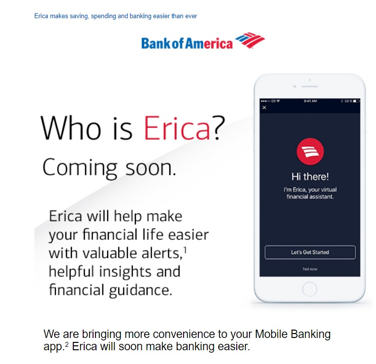 Who is Erica? - Bank of America Virtual Financial Assistant Email