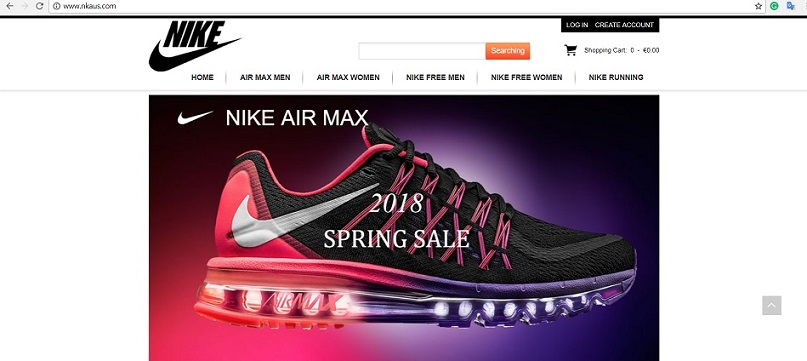 www.nkaus.com - the Fraudulent Nike Online Store