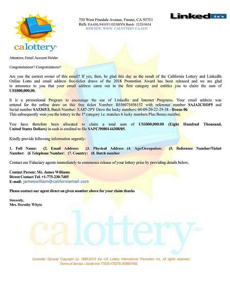 California Lottery and LinkedIn Online Lotto
