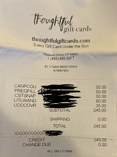 Jenny B Thoughtful Gift card receipt from Pleasant Grove UT 84062