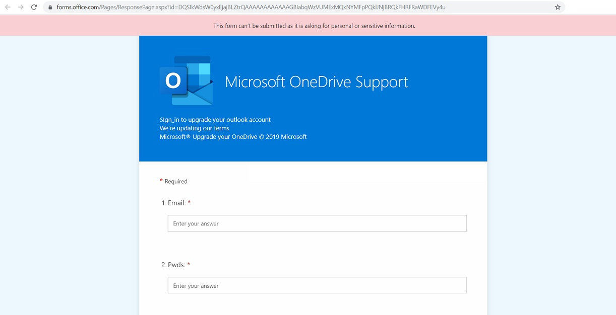 Your OneDrive is Full Phishing Scam