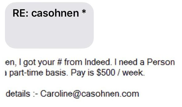 Fake Casohnen Message Sent by Scammers