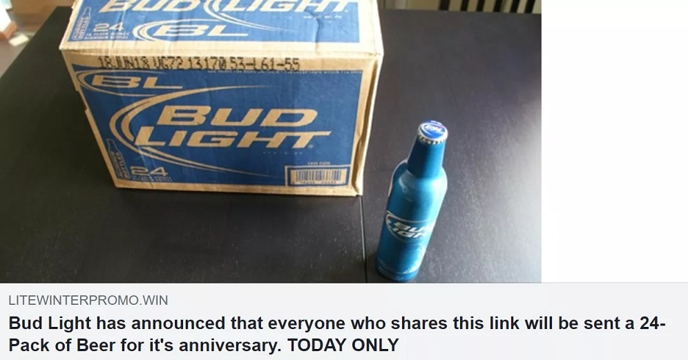 Free 24-Pack Bud Light Facebook Post Scam