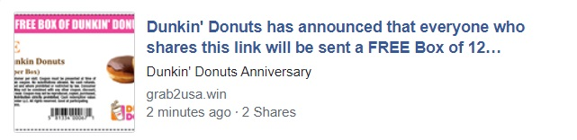 Free Box Of Dunkin Donuts Facebook Scam