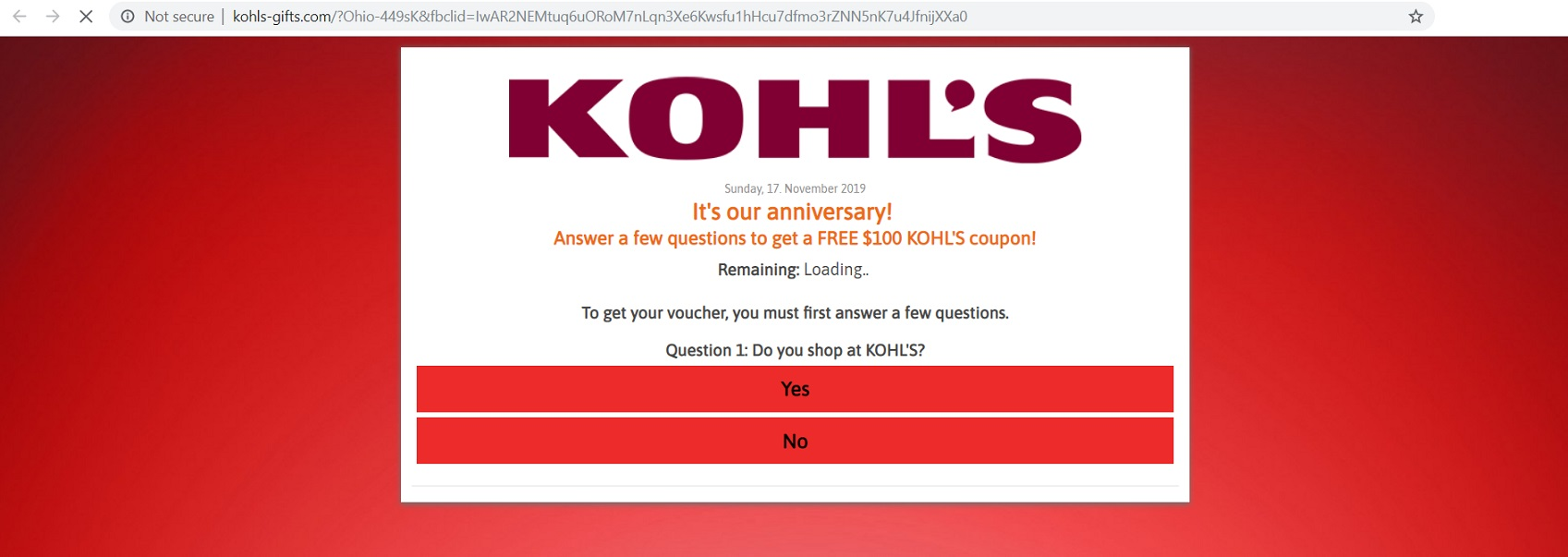 The Kohls Anniversay Free Coupon Scam at kohls-gifts.com