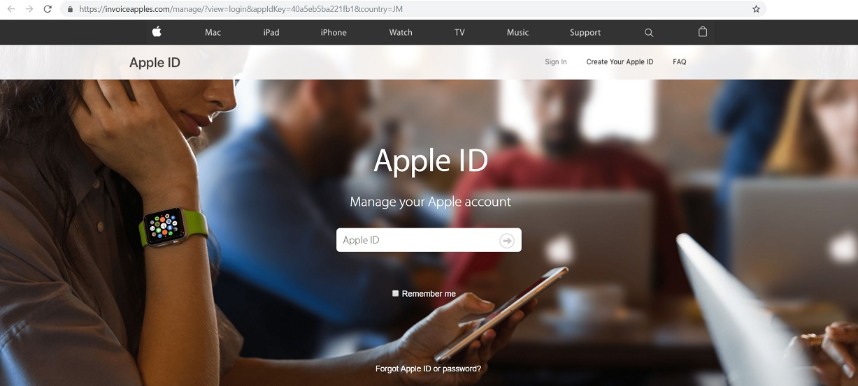Fake Apple Website at invoiceapples.com