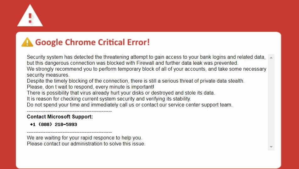 Google Chrome Critical Error Scam