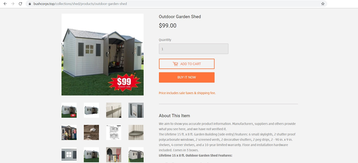 machinenuts.top - Outdoor Garden Shed Scam