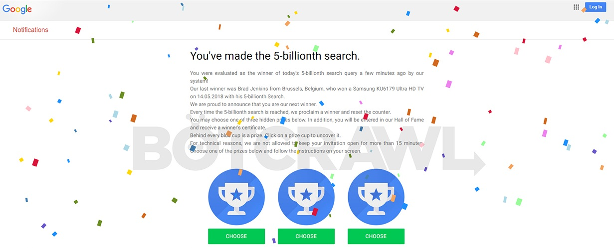 Google You've Made the 5-billionth Search Scam